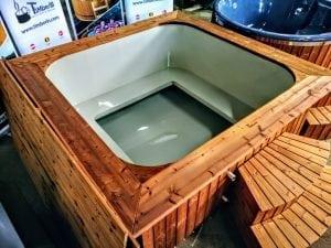 Wood fired hot tub square rectangular model with external wood burner 9