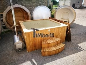 Wood fired outdoor hot tub rectangular deluxe with outside heater 1