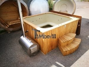Wood fired outdoor hot tub rectangular deluxe with outside heater 2