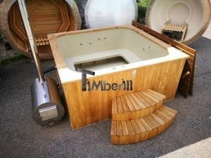 Wood fired outdoor hot tub rectangular deluxe with outside heater 22