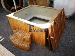 Wood fired outdoor hot tub rectangular deluxe with outside heater 26
