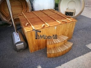 Wood fired outdoor hot tub rectangular deluxe with outside heater 36