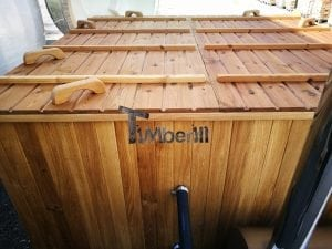 Wood fired outdoor hot tub rectangular deluxe with outside heater 41