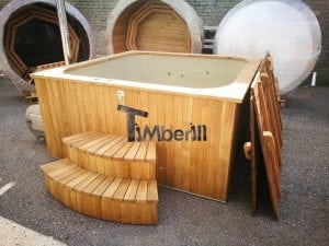 Wood fired outdoor hot tub rectangular deluxe with outside heater 8