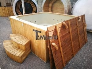 Wood fired outdoor hot tub rectangular deluxe with outside heater 9