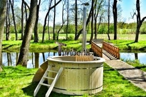 Wood fired hot tub for garden. Includes sand filtration 2 LED and wall insulation 21