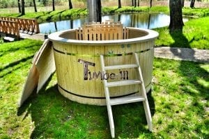 Wood fired hot tub for garden. Includes sand filtration 2 LED and wall insulation 24