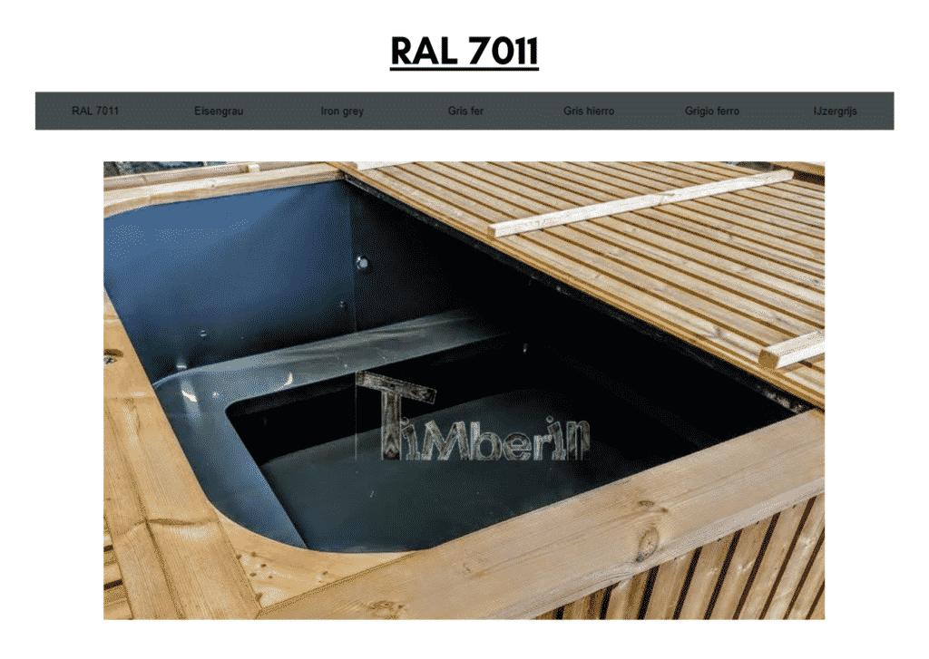 Outdoor garden hot tub jacuzzi with polypropylene liner Dark Grey RAL 7011 23