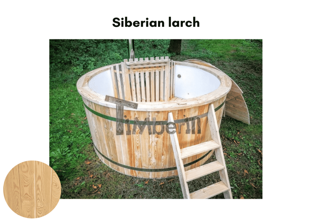 Outdoor garden hot tub jacuzzi with polypropylene liner Siberian larch 3