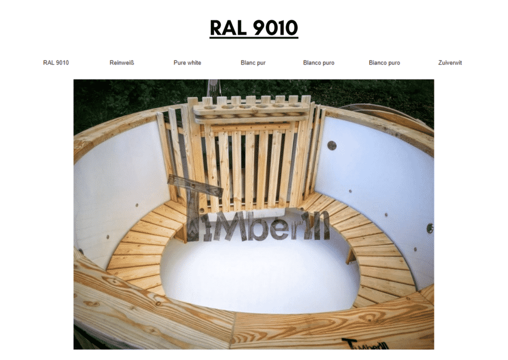 Outdoor garden hot tub jacuzzi with polypropylene liner White RAL 9010 19