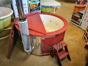 Fiberglass lined outdoor hot tub integrated heater with wood staining in red 1