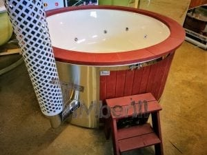 Fiberglass lined outdoor hot tub integrated heater with wood staining in red 18