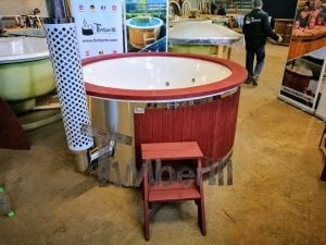 Fiberglass lined outdoor hot tub integrated heater with wood staining in red 21