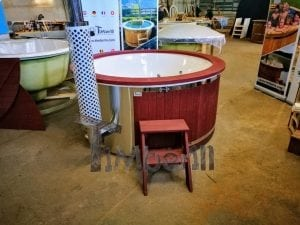 Fiberglass lined outdoor hot tub integrated heater with wood staining in red 22