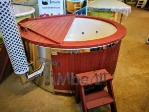 Fiberglass lined outdoor hot tub integrated heater with wood staining in red 8