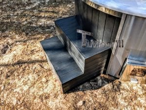 Black fiberglass lined hot tub with integrated burner Wellness Scandinavian 14