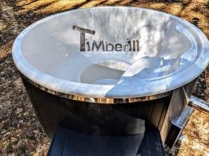 Black fiberglass lined hot tub with integrated burner Wellness Scandinavian 15