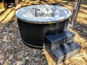 Black fiberglass lined hot tub with integrated burner Wellness Scandinavian 16