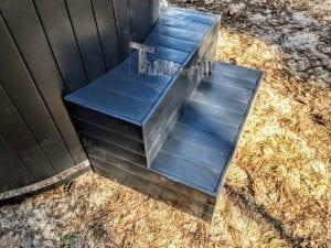 Black fiberglass lined hot tub with integrated burner Wellness Scandinavian 17