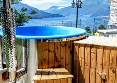 Fiberglass hot tub with wood burner