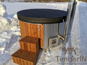 Wood fired hot tub with jets with external wood burner 12