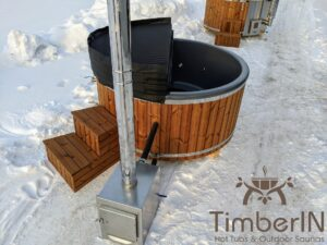 Wood fired hot tub with jets with external wood burner 14