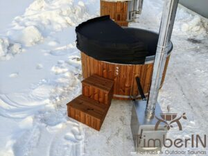 Wood fired hot tub with jets with external wood burner 17