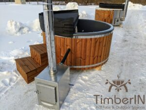 Wood fired hot tub with jets with external wood burner 18