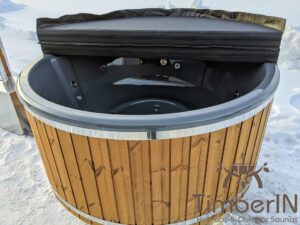 Wood fired hot tub with jets with external wood burner 21