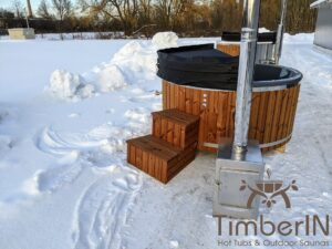 Wood fired hot tub with jets with external wood burner 23