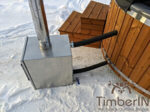 Wood fired hot tub with jets with external wood burner 24