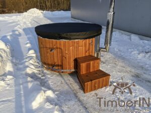 Wood fired hot tub with jets with external wood burner 29