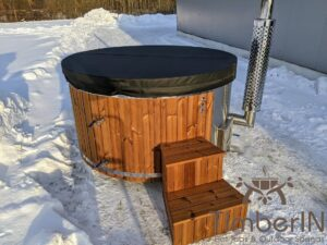 Wood fired hot tub with jets with external wood burner 30
