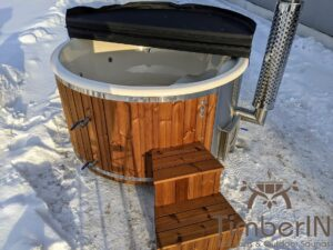 Wood fired hot tub with jets with external wood burner 6