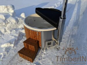 Wood fired hot tub with jets with external wood burner 7