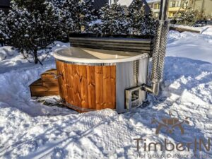 Wood fired hot tub with jets with integrated wood burner 1