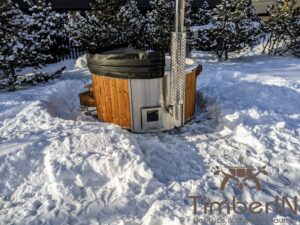 Wood fired hot tub with jets with integrated wood burner 11