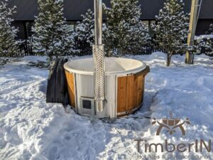 Wood fired hot tub with jets with integrated wood burner 13
