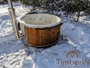 Wood fired hot tub with jets with integrated wood burner 14