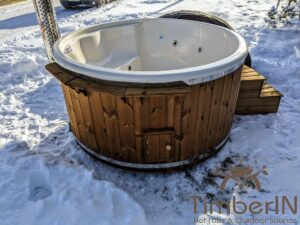 Wood fired hot tub with jets with integrated wood burner 15