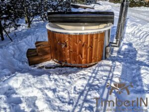 Wood fired hot tub with jets with integrated wood burner 19
