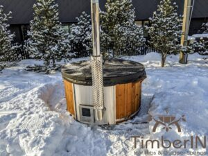 Wood fired hot tub with jets with integrated wood burner 23