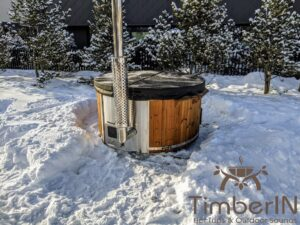Wood fired hot tub with jets with integrated wood burner 24