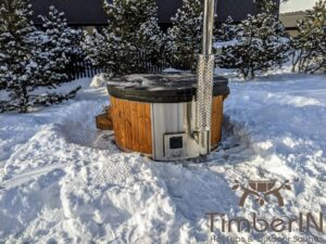 Wood fired hot tub with jets with integrated wood burner 25