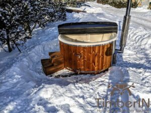 Wood fired hot tub with jets with integrated wood burner 28