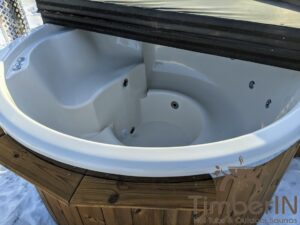 Wood fired hot tub with jets with integrated wood burner 7