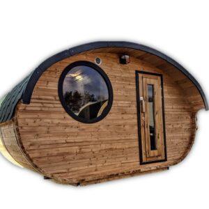 Outdoor oval barrel sauna hobbit